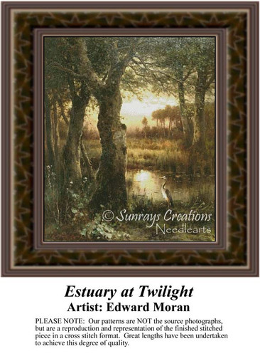 Estuary at Twilight, Fine Art Counted Cross Stitch Pattern, Alluring Landscapes Counted Cross Stitch Pattern