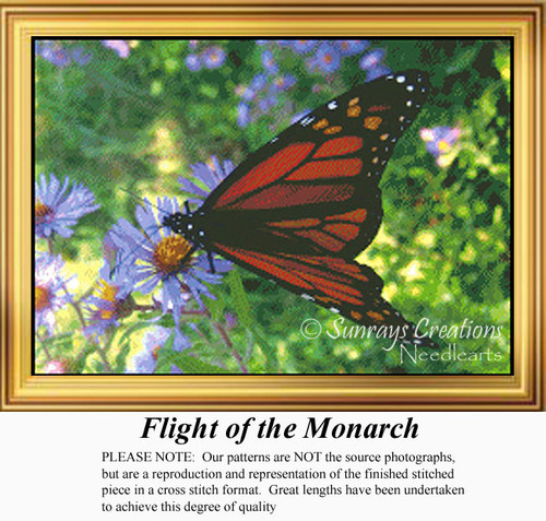 Flight of the Monarch, Flowers Counted Cross Stitch Pattern