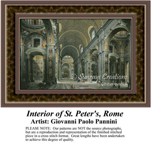 Interior of St. Peter's, Rome, Interiors Counted Cross Stitch Pattern, Fine Art Counted Cross Stitch Pattern