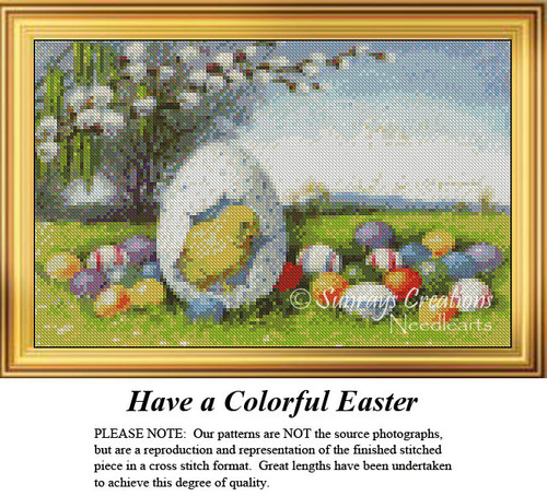 Have a Colorful Easter, Easter Miniatures Counted Cross Stitch Pattern