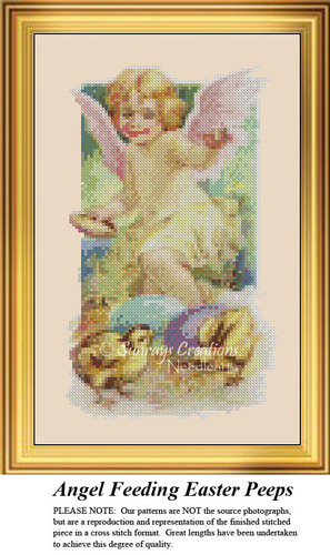 Angel Feeding Easter Peeps, Angel Counted Cross Stitch Pattern