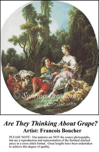 Are They Thinking About Grape?, Fine Art Counted Cross Stitch Pattern, Social Counted Cross Stitch Pattern