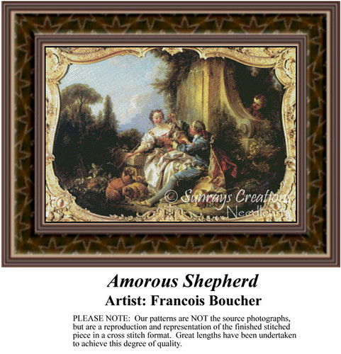 Amorous Shepherd, Fine Art Counted Cross Stitch Pattern, Romance Counted Cross Stitch Pattern