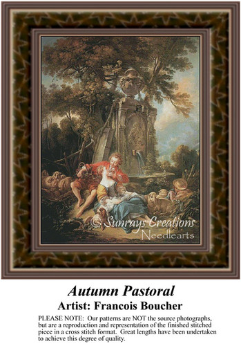 An Autumn Pastoral, Fine Art Counted Cross Stitch Pattern, Fall Counted Cross Stitch Pattern, Romance Counted Cross Stitch Pattern