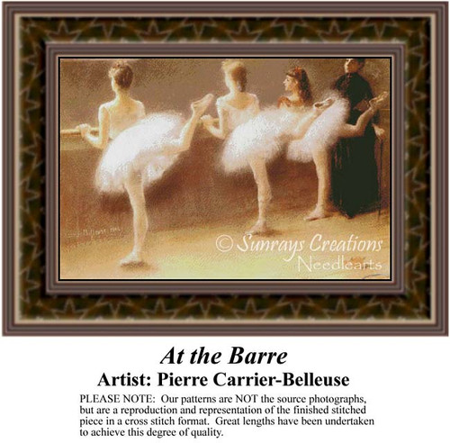 At the Barre, Ballet Counted Cross Stitch Pattern, Fine Art Counted Cross Stitch Pattern, Women Counted Cross Stitch Pattern