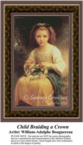 Child Braiding a Crown, Fine Art Counted Cross Stitch Pattern, Children Counted Cross Stitch Pattern