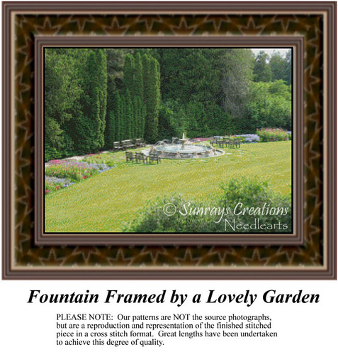 Fountain Framed by a Lovely Garden, Landscapes Counted Cross Stitch Pattern