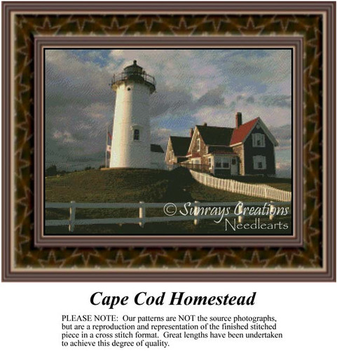 Cape Cod Homestead, Alluring Landscape Counted Cross Stitch Patterns, Lighthouse Counted Cross Stitch Pattern