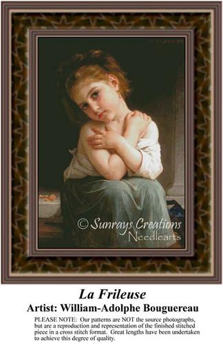 La Frileuse, Fine Art Counted Cross Stitch Pattern, Children Counted Cross Stitch Pattern
