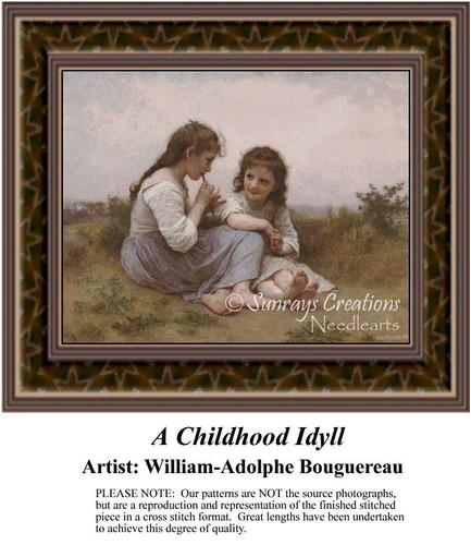 A Childhood Idyll, Fine Art Counted Cross Stitch Pattern, Children Counted Cross Stitch Pattern
