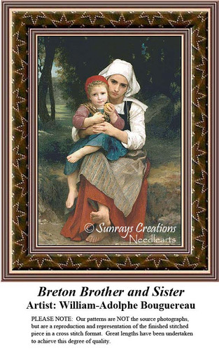 Breton Brother and Sister, Fine Art Counted Cross Stitch Pattern, Family Counted Cross Stitch Pattern