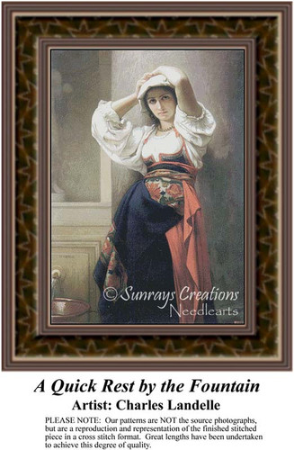 A Quick Rest by the Fountain, Fine Art Counted Cross Stitch Pattern, Women Counted Cross Stitch Pattern