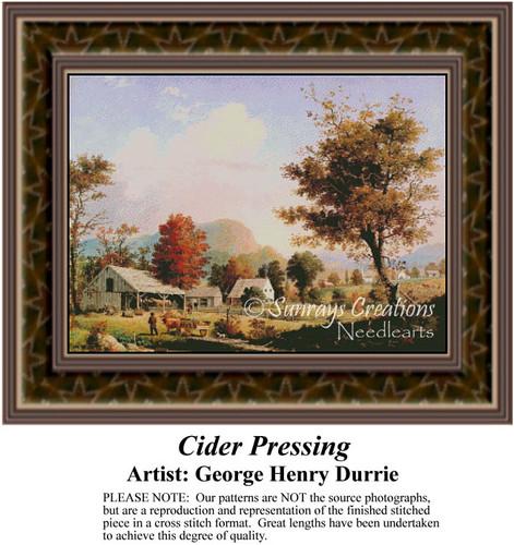 Cider Pressing, Fine Art Counted Cross Stitch Pattern, Alluring Landscapes Counted Cross Stitch Pattern
