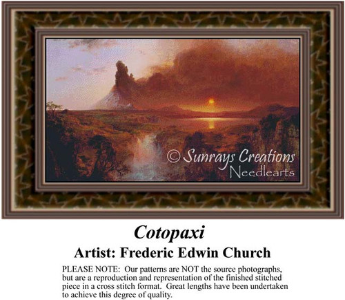 Cotopaxi, Fine Art Counted Cross Stitch Pattern, Alluring Landscapes Counted Cross Stitch Pattern