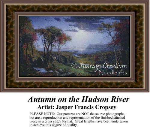 Autumn on the Hudson River, Fine Art Counted Cross Stitch Pattern, Fall Counted Cross Stitch Pattern, Alluring Landscapes Counted Cross Stitch Pattern