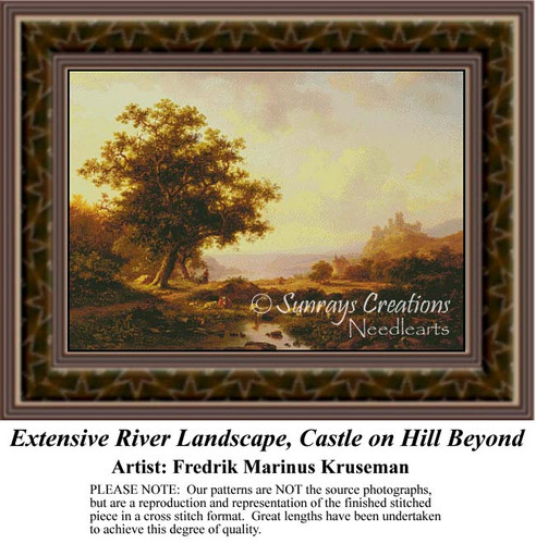 An Extensive River Landscape with a Castle on a Hill Beyond, Waterscapes Counted Cross Stitch Patterns, Fine Art Counted Cross Stitch Pattern