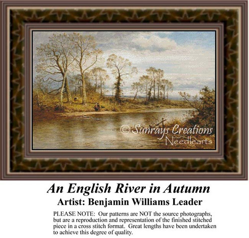 An English River in Autumn, Waterscapes Counted Cross Stitch Pattern, Fine Art Counted Cross Stitch Pattern, Fall Counted Cross Stitch Pattern