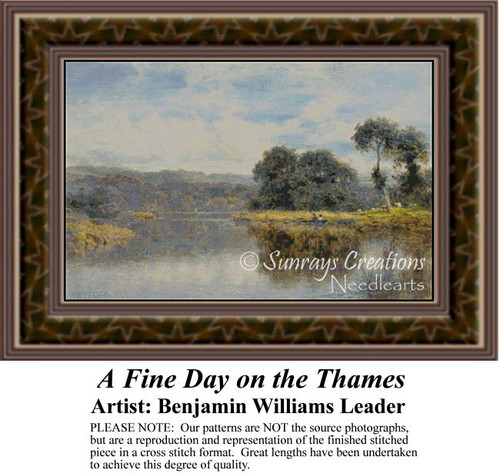 A Fine Day on the Thames, Waterscapes Counted Cross Stitch Pattern, Fine Art Counted Cross Stitch Pattern