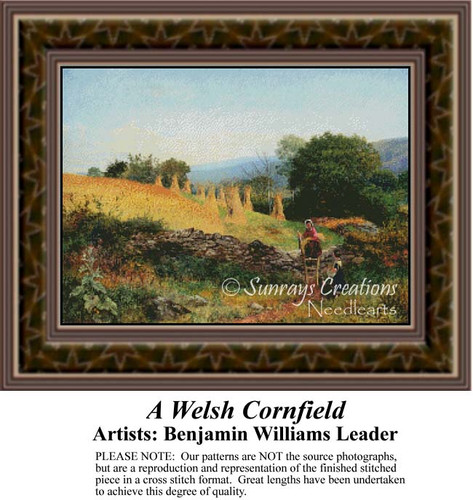 A Welsh Cornfield, Fine Art Counted Cross Stitch Pattern, Alluring Landscapes Counted Cross Stitch Pattern