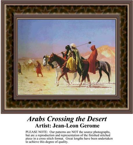 Arabs Crossing the Desert, Fine Art Counted Cross Stitch Pattern