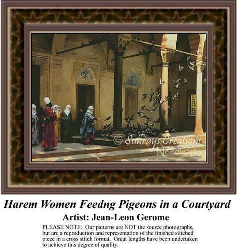 Harem Women Feeding Pigeons in a Courtyard, Fine Art Counted Cross Stitch Pattern, Women Counted Cross Stitch Pattern, Social Counted Cross Stitch Pattern