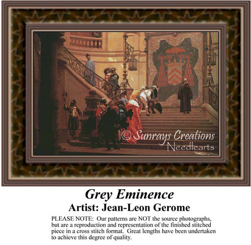 Grey Eminence, Fine Art Counted Cross Stitch Pattern, Social Counted Cross Stitch Patterns