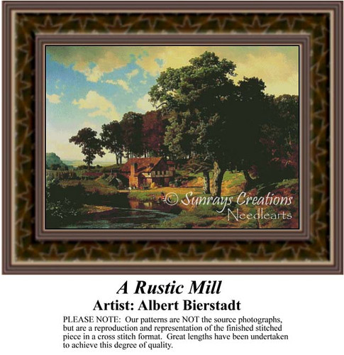 A Rustic Mill, Fine Art Counted Cross Stitch Pattern, Alluring Landscapes Counted Cross Stitch Pattern
