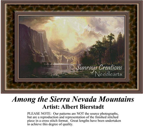 Among the Sierra Nevada Mountains, Fine Art Counted Cross Stitch Pattern, Alluring Landscapes Counted Cross Stitch Pattern