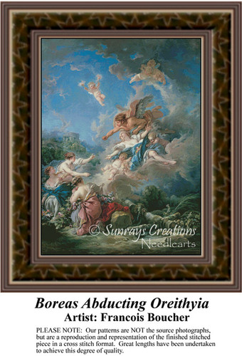 Boreas Abducting Oreithyia, Fine Art Counted Cross Stitch Pattern