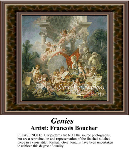 Genies, Fine Art Counted Cross Stitch Pattern, Social Counted Cross Stitch Patterns