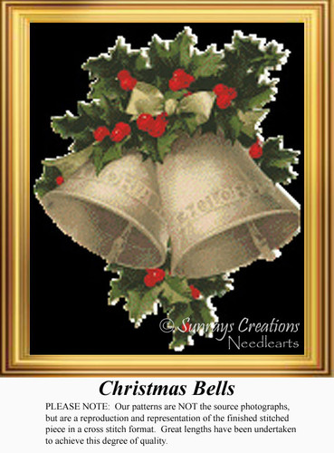 Christmas Bells, Vintage Counted Cross Stitch Pattern