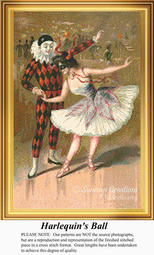Harlequin's Ball, Vintage Counted Cross Stitch Pattern