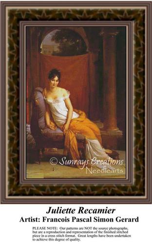 Juliette Recamier, Fine Art Counted Cross Stitch Pattern, Women Counted Cross Stitch Pattern