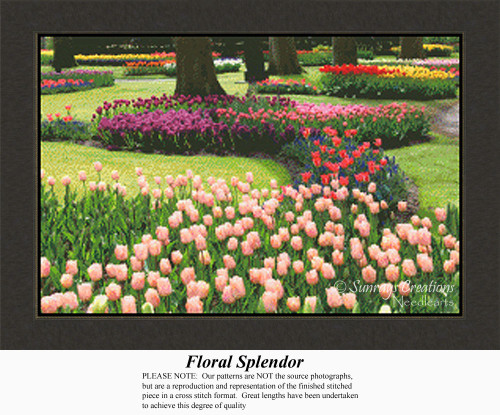Floral Splendor, Landscapes Counted Cross Stitch Pattern