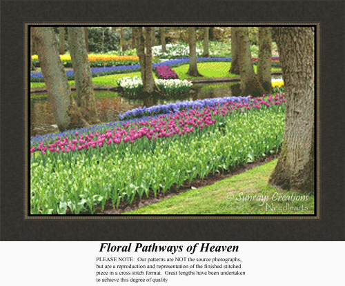 Floral Pathways of Heaven, Landscapes Counted Cross Stitch Pattern