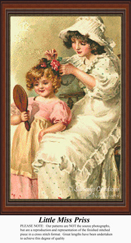 Little Miss Priss, Vintage Counted Cross Stitch Pattern