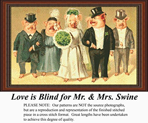 Love is Blind for Mr. and Mrs. Swine Counted Cross Stitch Pattern