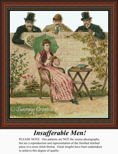 Insufferable Men, Vintage Counted Cross Stitch Pattern