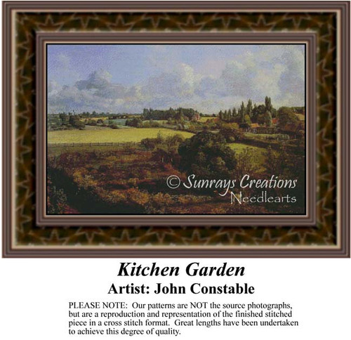 Kitchen Garden, Fine Art Counted Cross Stitch Pattern, Alluring Landscapes Counted Cross Stitch Pattern