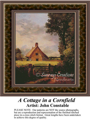 A Cottage in a Cornfield, Fine Art Counted Cross Stitch Pattern, Alluring Landscapes Counted Cross Stitch Pattern