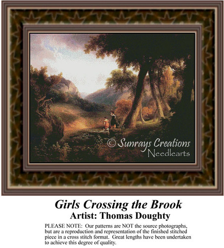 Girls Crossing the Brook, Fine Art Counted Cross Stitch Pattern