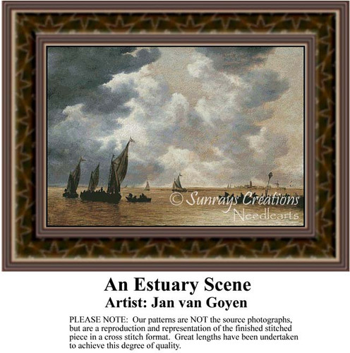 An Estuary Scene, Waterscapes Counted Cross Stitch Patterns, Fine Art Counted Cross Stitch Pattern