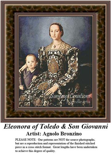 Eleonora of Toledo & Son Giovanni, Fine Art Counted Cross Stitch Pattern, Family Counted Cross Stitch Pattern