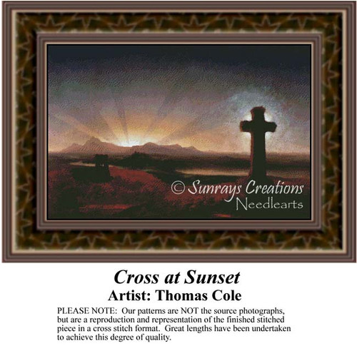 Cross at Sunset, Fine Art Counted Cross Stitch Pattern