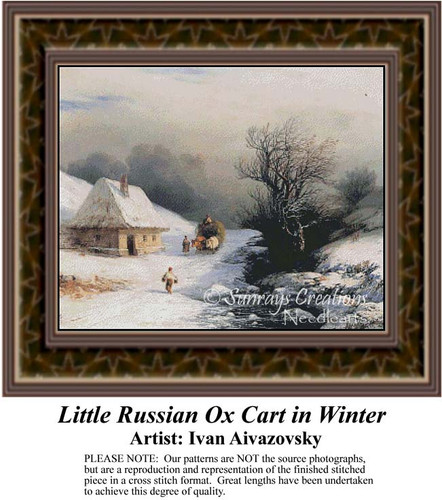 Little Russian Ox Cart in Winter, Fine Art Counted Cross Stitch Pattern, Winter Counted Cross Stitch Pattern