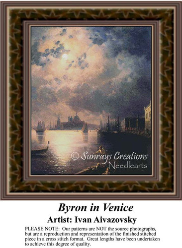 Byron in Venice, Waterscapes Counted Cross Stitch Pattern, Fine Art Counted Cross Stitch Pattern