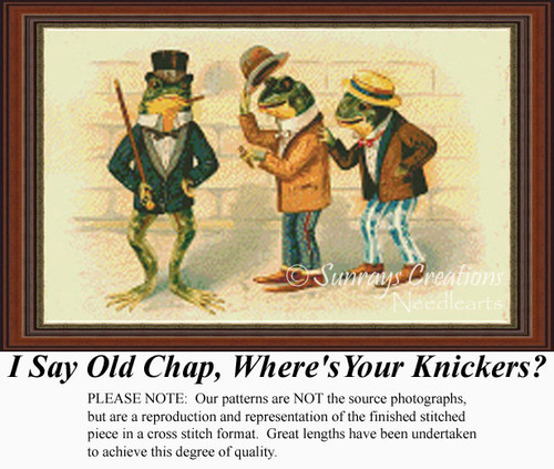 I Say Old Chap, Where's Your Knickers?, Vintage Counted Cross Stitch Pattern