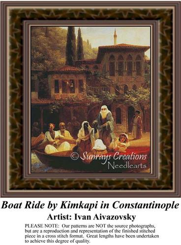 Boat Ride by Kimkapi in Constantinople, Fine Art Counted Cross Stitch Pattern