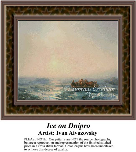 Ice on Dnipro, Fine Art Counted Cross Stitch Pattern, Waterscapes Counted Cross Stitch Patterns