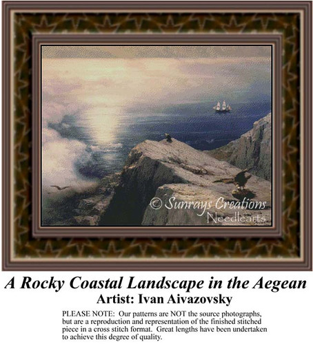 A Rocky Coastal Landscape in the Aegean, Waterscapes Counted Cross Stitch Pattern, Fine Art Counted Cross Stitch Pattern